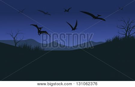 Silhouette of many pterodactyl at the night