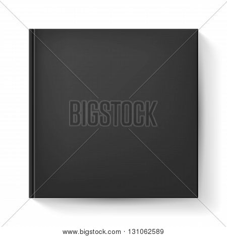 Notebook with black cover. Illustration on white