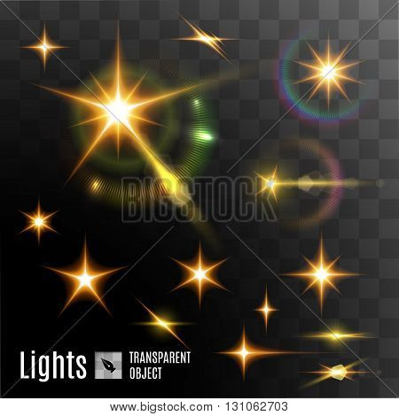 Set of bright stars with bokeh effects