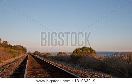 Railroad tracks on the Central Coast of California at Goleta / Santa Barbara at sunset