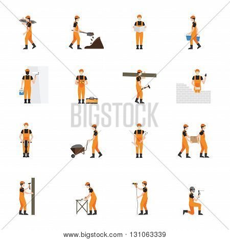 Construction worker man in helmet isolated on white background character flat icons set vector illustration.