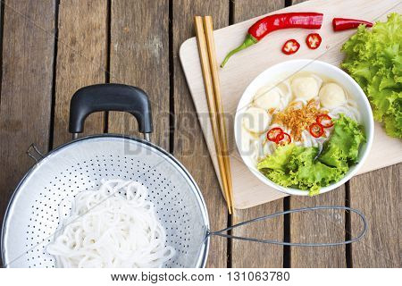 Asia noodle veitnam on wooden background.Asia food pasta of asia.Background of asia food.