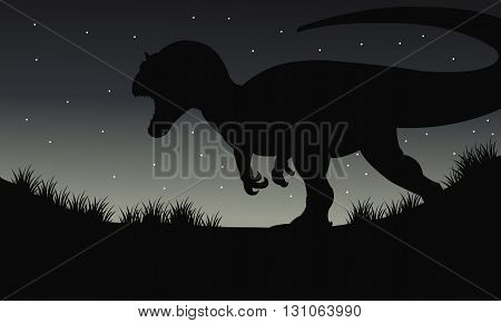 Silhouette of one dilophosaurus at the night with star