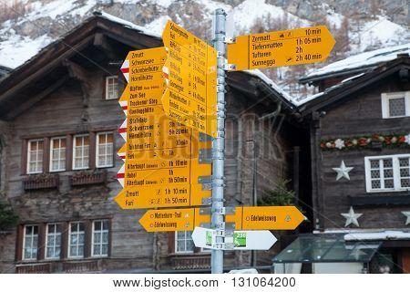 Scenic views from the mountain village of Zermatt Switzerland