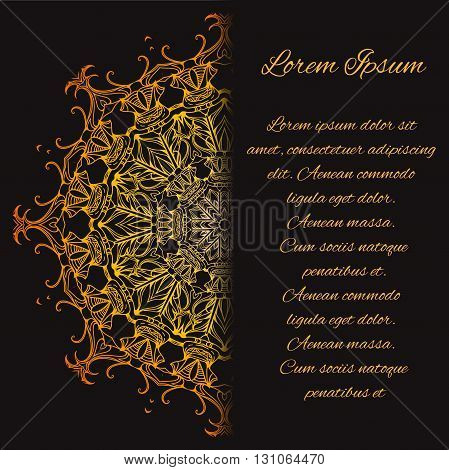 Gold vintage card with doodle pattern and place for text. Circular luxury pattern. Card Template.