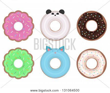 Set of different vector donuts. Flat illustration. Flower donuts donuts with animals classic donuts