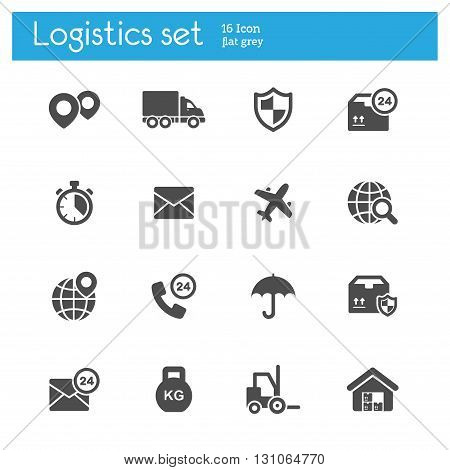 logistics flat icons gray set of 16