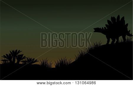 Silhouette of stegosaurus in fields scenery at the night