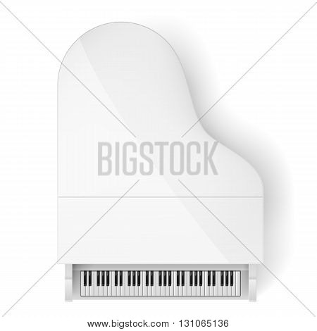 Top View of White Grand Piano on White Background