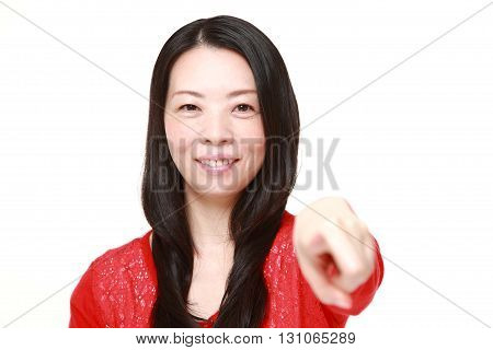 portrait of portrait of  Japanese woman decided on white background