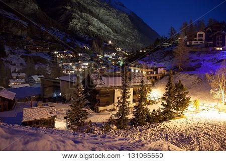 Views of Zermatt town at night Switzerland