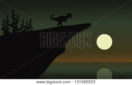 allosaurus in cliff with moon at the night