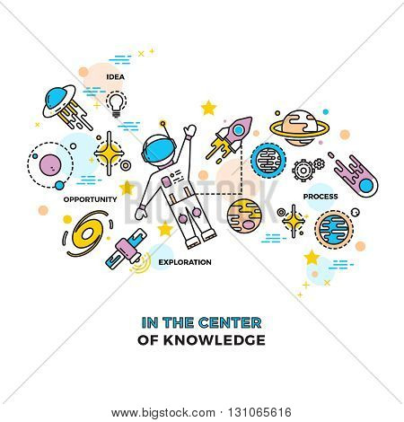 Astronaut on space with rocket. Cosmos vector education science concept. Astronaut education in cosmos, technology for fly astronaut illustration