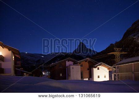 Night views of Matterhorn from Zermatt Switzerland