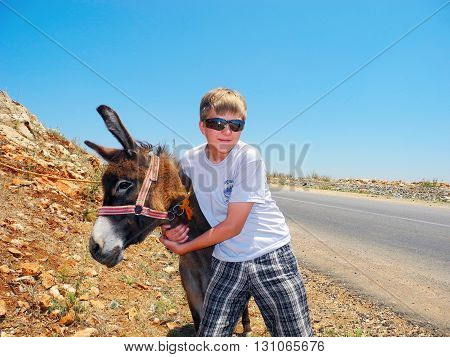 In an embrace with a donkey. Boy is glad hugging a donkey.