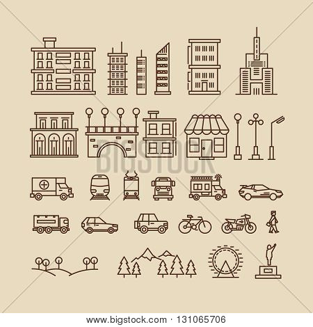 Line elements of city. Buildings and houses, trees and transport icons for city map or cityscape. Vector illustration