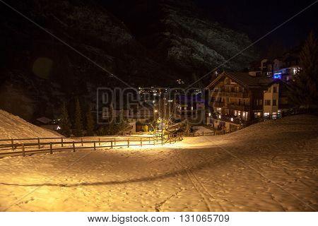 Scenic night time views of Zermatt Switzerland
