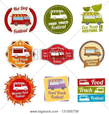 Car street food festival color labels set. Car food service labels. Van restaurant and mexican snack badges. Vector illustration