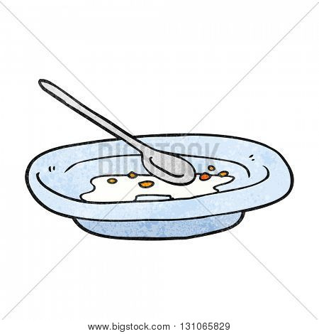 freehand textured cartoon empty cereal bowl