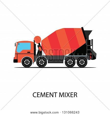 Cement mixer truck isolated on white background,transportation vector illustration.