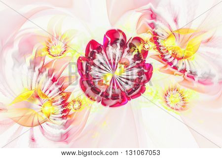 Abstract transparent flowers on white background. Creative fractal design in rose red and yellow colors.