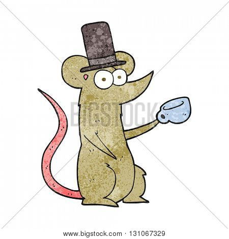 freehand textured cartoon mouse with cup and top hat