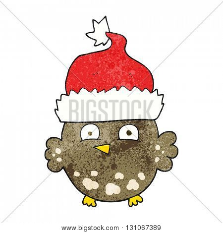 freehand textured cartoon owl wearing christmas hat