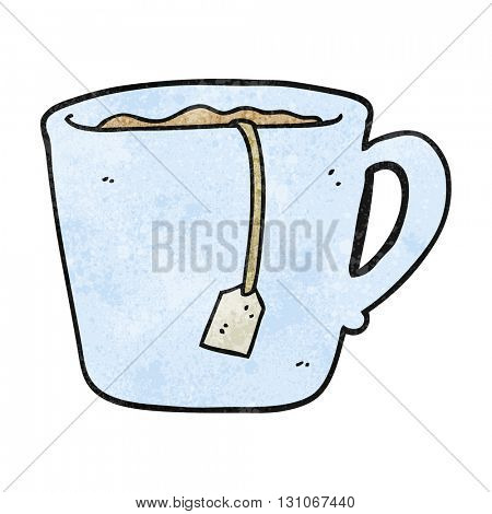 freehand textured cartoon mug of tea