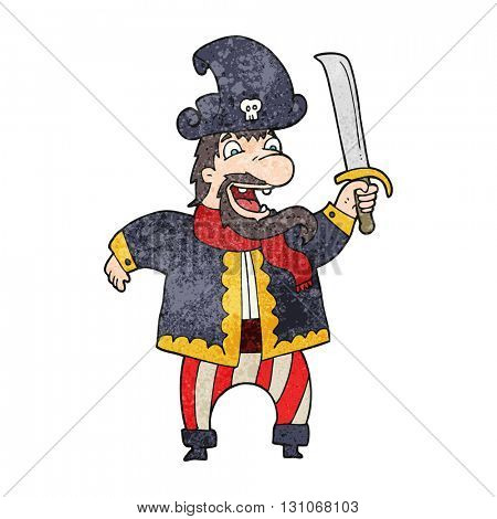 freehand textured cartoon laughing pirate captain