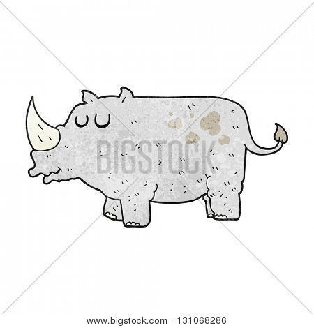 freehand textured cartoon rhino