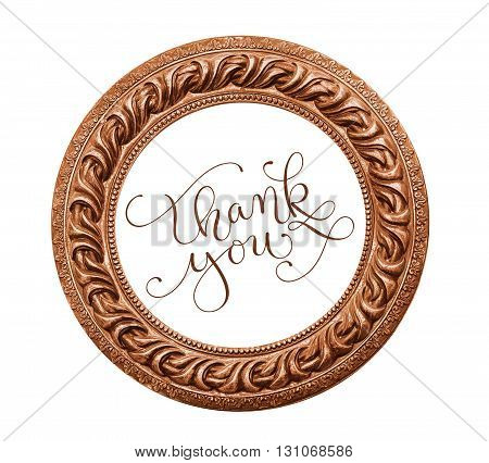 round vintage frame on a white background and the words Thank You.