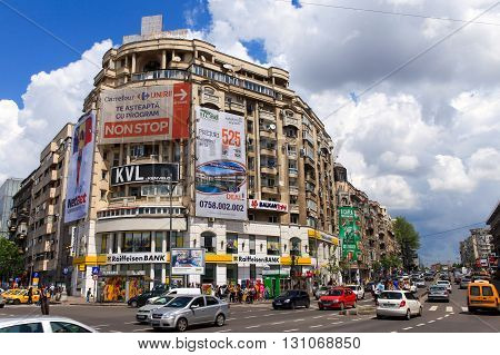 Bucharest, Romania, May 7, 2016: Central Bucharest street, with traffic passing by at Victory avenue, the main road of bucharest.