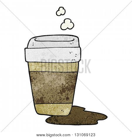 freehand textured cartoon coffee cup