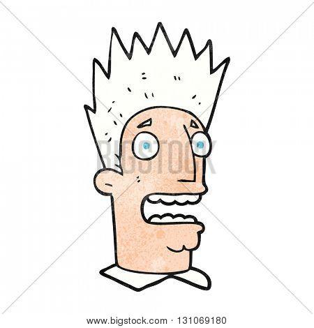 freehand textured cartoon shocked man
