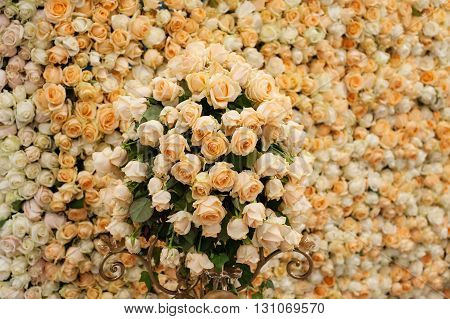 Beautiful flowers background for wedding scene texture