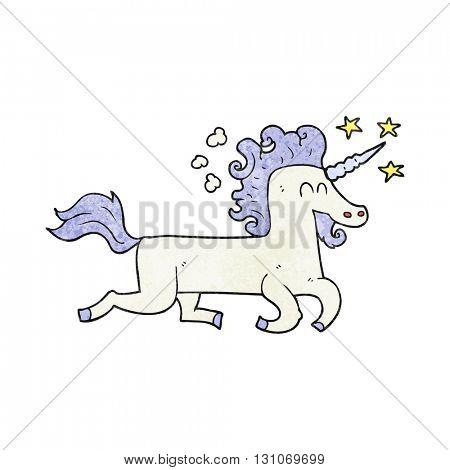 freehand textured cartoon unicorn