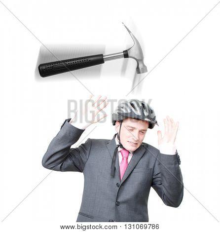 A man hammered