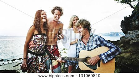 Beach Party Guitar Cheerful Togetherness Sky Concept