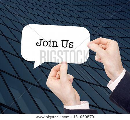 Join Us written in a speechbubble