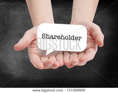 Shareholder written on a speechbubble
