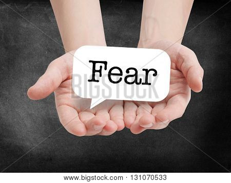 Fear written on a speechbubble