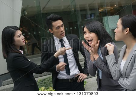 business bully concept with man and woman in the city