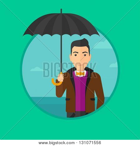 A businessman standing with opened umbrella on the background of blue sky. Happy businessman with umbrella. Vector flat design illustration in the circle isolated on background.