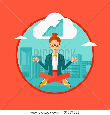 Peaceful business woman with eyes closed doing yoga and meditating in lotus pose outdoors and thinking about the growth graph. Vector flat design illustration in the circle isolated on background.