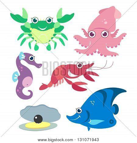 cartoon cute aquatic animal on white background