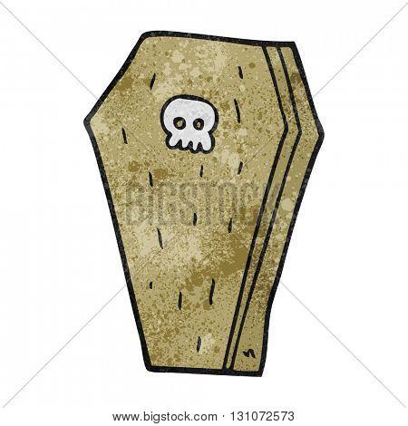 freehand textured cartoon halloween coffin
