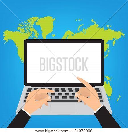 Hands on laptop keyboard on world map background. Vector illustration internet online technology concept.