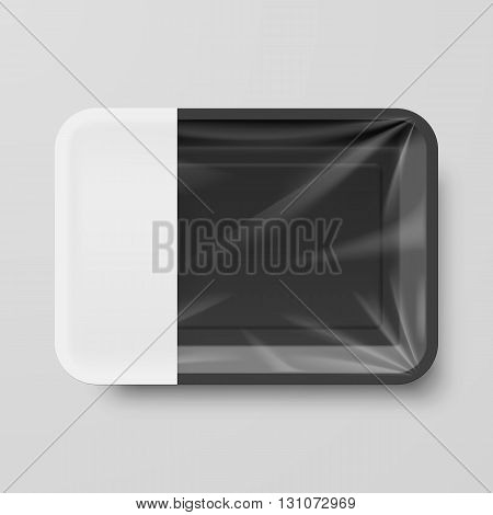 Empty Black Plastic Food Container with Empty Label on Gray
