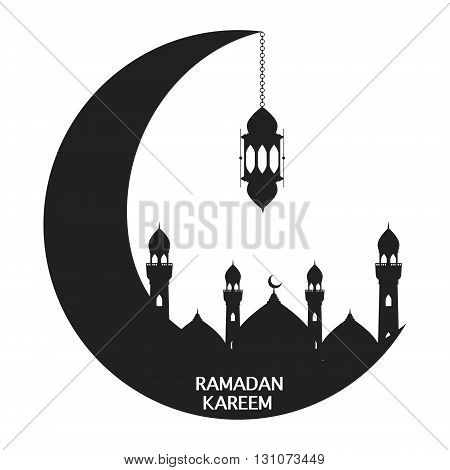 Black moon with mosque and lantern on white background. Vector illustration happy Ramadan Kareem greeting card design.
