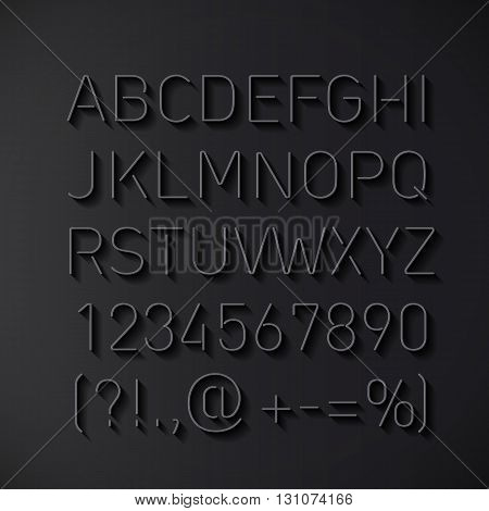 Font Thin Lines with Shadow Isolated on Black Background
